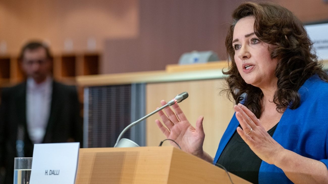Helena Dalli, Commissioner-designate for Equality, during the hearing in the European Parliament. Credit: EP