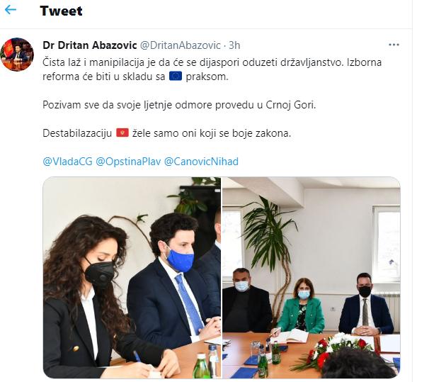 Objava potpredsjednika Vlade, Dritana Abazovića (izvor: RTCG)